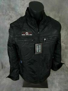 $120 Mens Jacket Black Moto Motorcycle Bomber Zip Pockets Patches House of Lords