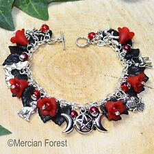 The Children of the Night Gothic Bracelet - Red - Goth Jewellery, Dracula, Bat