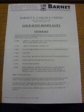 23/11/1999 Barnet v Carlisle United - Gold Suite Hospitality Itinerary (single s