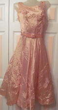 rare 50's Suzy Perette peach pink full skirt pin up party silk applique dress S