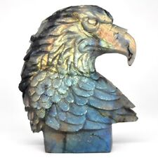 "4.5"" Flash Labradorite Eagle Figurine Healing Bird Statue Handmade Home Decor"