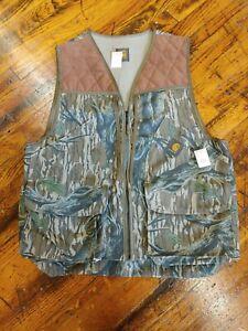 Vintage NEW Carhartt Mossy Oak Camo Corduroy Hunting Vest Ideal Zipper NWT Sz L