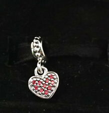 Authentic Pandora Silver Red Pave Heart Dangle Charm 791023CZR