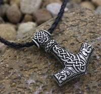Fashion Stainless Steel Viking Wolf Head Axe Hammer Wolf Pendant Necklace Men