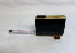 Vintage Tape Measure Black Gold Plastic Case Retractable Hidden Stand Germany