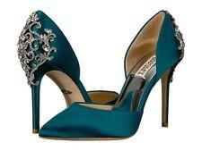 b46a9f020b09 Badgley Mischka Karma Satin Pump Crystal Embellished Heel Green 5.5
