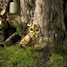 Kingfisher Painted Metal Owl Garden Ornament