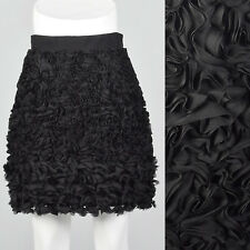 XS 2010s Black Mini Skirt Decorative Ribbon Fabric Flowers Lined Wide Waistband