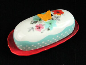 The Pioneer Woman Butterfly Butter Dish Red Ceramic With Floral Butterfly Top