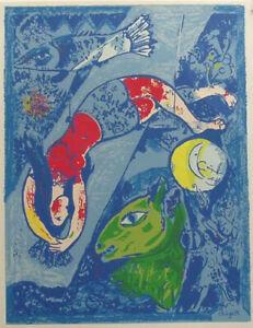 MARC CHAGALL - LE CIRQUE BLEU - SERIGRAPH - PLATE SIGNED -1970's.