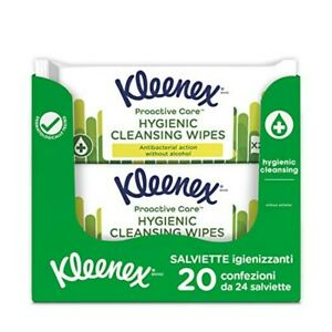 Kleenex Proactive Salviette Igenizzanti Anti Batteriche, 20 Pacchi Da 24 Salviet