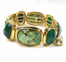 JONES NEW YORK Signed  Bold Chunky BRACELET Abalone-Jade-Faux Big Jewels RUNWAY