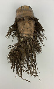 Bamboo Root Hand Carved Asian TIKI Bearded Man Face Mask Vintage Rare OOAK VTG