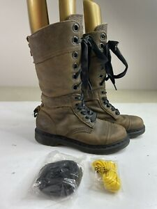 DOC Dr. MARTENS Womens TRIUMPH Size 8 Brown Leather Combat Boots BRITISH FLAG UK