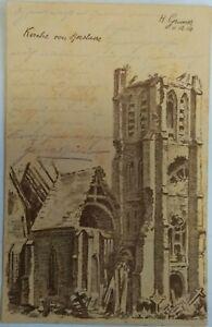 WW1 DESTROYED CHURCH Artist Signed Rezelaere Belgium? Patriotic PC Feldpost 1915