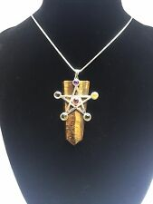 Tigers Eye Crystal Pentagram Chakra 925 Sterling Silver Pendant New Pagan Wicca