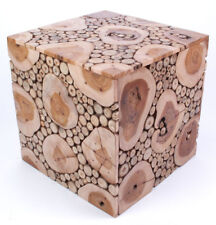 Design-Hocker, Tisch aus Teak-Holz / Ast-Scheiben, ca. 40x40x40cm