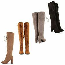 Unbranded Over Knee Boots Faux Suede Casual Shoes for Women