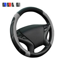 Universal PU Leather Steering Wheel Cover Grey Black For SUV VAN Honda Holden