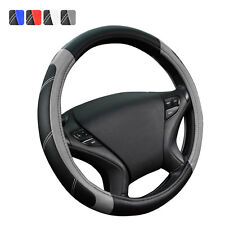 Universal PU Leather Steering Wheel Cover Gray Black For SUV VAN Honda Holden