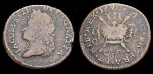 Ireland 1690 James II Gunmoney Small Size Shilling June 1690 Rare Fine+ 6310