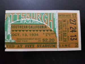 1934 USC TROJANS vs PITTSBURGH GAME TICKET VINTAGE