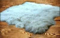 FUR ACCENTS Shaggy Sheepskin Area Rug Random Shape White or Off White 5 Sizes
