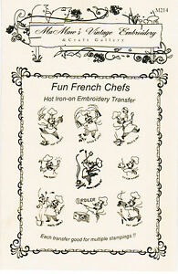 M214 Fun French Kitchen Chef Towel DOW Embroidery HOT IRON Transfer