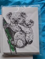 Koala and Baby 18 Blank Notecards with Linen Style Envelopes New