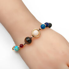 2018 New Natural Stone Beads Galaxy 8 Planets Solar System Bracelet Bangle