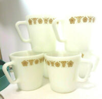 """6 Vintage Pyrex Butterfly Gold 3-3/8"""" Coffee Cups 1410 Matches Corelle Corning"""