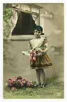 c 1920 Child Children CUTE YOUNG GIRL tinted photo postcard