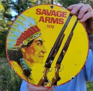 OLD VINTAGE DATED 1979 SAVAGE ARMS PORCELAIN METAL SIGN COLT BEAR ARMS GUN HUNT