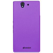 AMZER SOLID PURPLE SOFT GEL TPU GLOSS SKIN CASE COVER FOR SONY XPERIA Z L36i