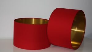 Lampshade, Deep Ruby Red Cotton Fabric with Brushed Gold Lining