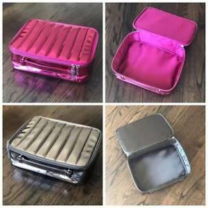 2020 Holiday Lancome Metallic Pink Chrome Softside Cosmetic Makeup Bag