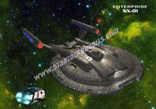 """Star Trek: Enterprise NX-01 POSTER with Shuttlepod Below on Green 17""""x11"""" MINT!"""