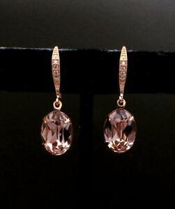 14K Rose Gold Finish 4.10Ct Oval Cut Attractive Morganite Drop & Dangle Earrings