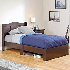 Twin Size Bed Frame with Headboard Bedroom Furniture Wood Under Storage Kids New