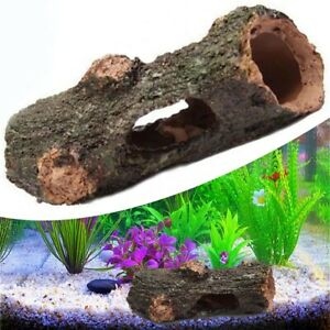Aquarium Log Tree Hide Hollow Tunnel Cave Ornament Fish Tank Decor Accessories