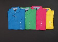 TOMMY HILFIGER Classic Fit Mesh Cotton Logo Polo Shirts NEW NWT