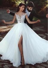 New Lace Chiffon Wedding Dresses Beach Bridal Gown Cap Sleeve Slit Bridal Dress