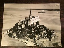 "Vintage Mont-Saint-Michelle Island Monastery France Aerial Photo 14 1/2""x19 3/4"""