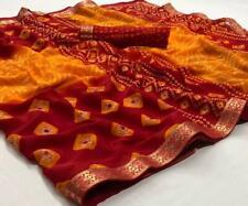 Indian Ethnic Bandhani Saree Sari Chiffon Wedding Wear Lace Work Printed Sari SS