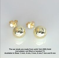 Pair 14ct Solid Gold Ball Stud Earrings 3mm-8mm