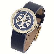 NWT Tory Burch Women's Watch Navy Blue Leather Gold Swiss LOGO REVA TRB4003 $295