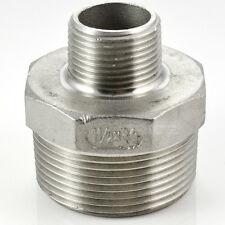 "Hex Nipple 1-1/2"" x 3/4"" Male Stainless Steel 304 Thread Reducer Pipe Fitting"