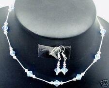 Fabulous! Czech Crystal jewelry set AB Blue aqa+Clear