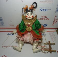 Vintage Burmese Asian Puppet Marionette Ornate Carved Wood Hand Painted 14''TALL