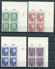 ESTONIA 1937 COAT OF ARMS CHARITY ISSUE B32-B35 SUPERB MNH MARGIN BLOCKS OF 4